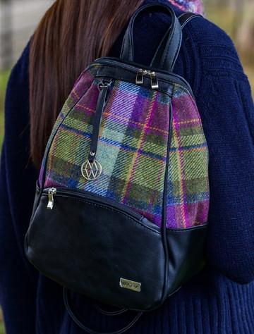 Tweed & Leather Colleen Backpack - Multi-Vernal Plaid