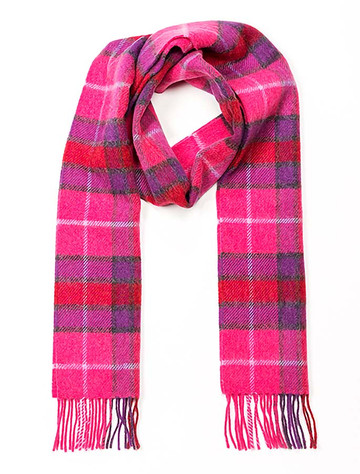 Narrow Lambswool Checked Scarf - Pink & Purple Plaid