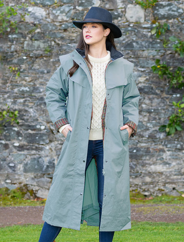 Donegal Ladies Waterproof Full Length Coat - Smoke Blue