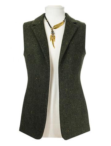 Ladies Irish Green Tweed Gilet