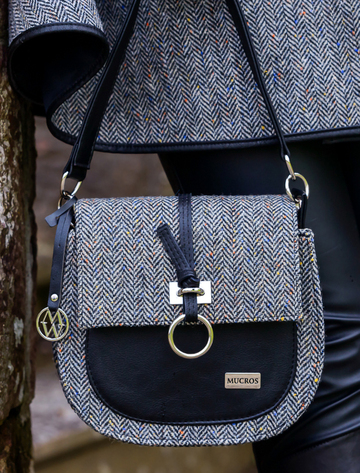 Grace Tweed Bag - Grey Herringbone