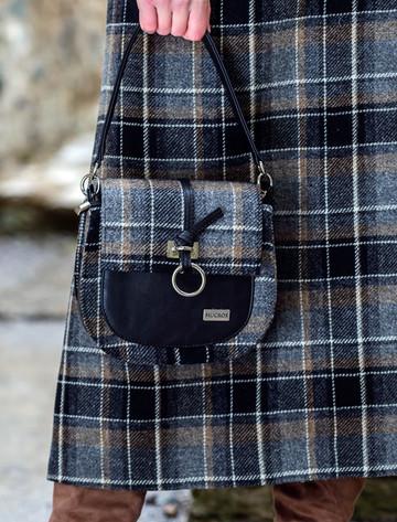 Grace Tweed Bag - Grey & Black