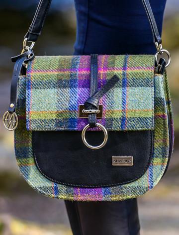 Grace Tweed Bag - Green & Purple