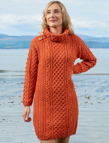 Cable Aran Dress with Cowl Neck - Autumn Leaf