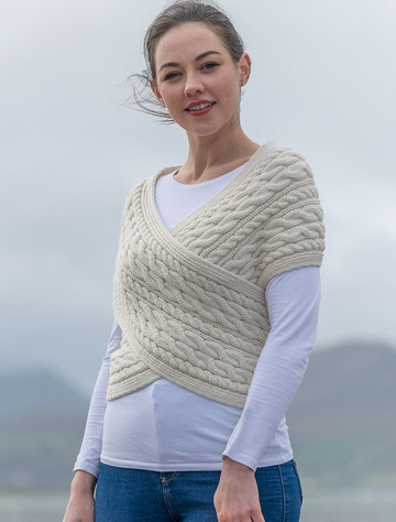 Merino Aran Cable Crossover Wrap with Buttons - White