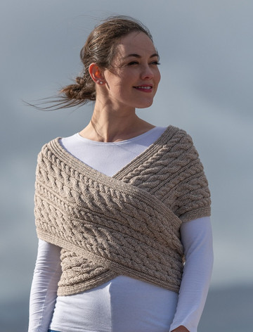 Merino Aran Cable Crossover Wrap with Buttons - Wicker