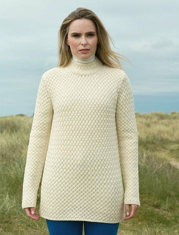 Aran Funnel Neck Cross Sweater - Natural White