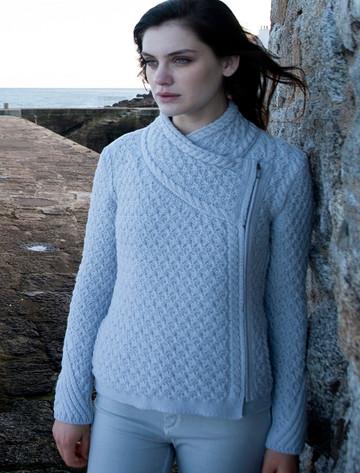 Textured Merino Side Zip Cardigan - Dove Grey