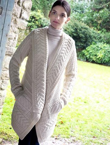 Cable Knit Waterfall Aran Cardigan - Natural White