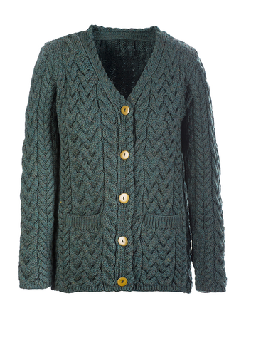 Super Soft V-Neck Button Up Cable Knit Cardigan - Connemara Green