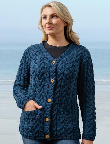Super Soft V-Neck Button Up Cable Knit Cardigan - Atlantic