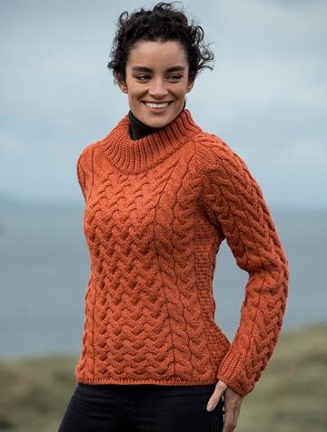 Women's Aran Cable Crew Neck Sweater - Autumn Leaf