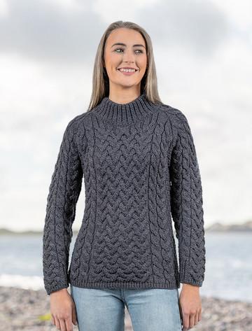 Women's Aran Cable Crew Neck Sweater - Derby