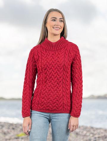 Women's Aran Cable Crew Neck Sweater - Chillipepper