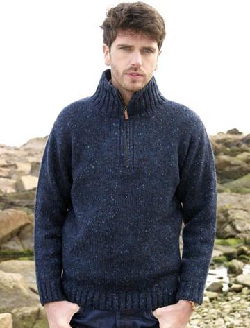 Donegal Tweed Half Zip Sweater - Denim