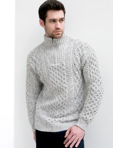 Wool Cashmere Aran Troyer Sweater - Silver Marl