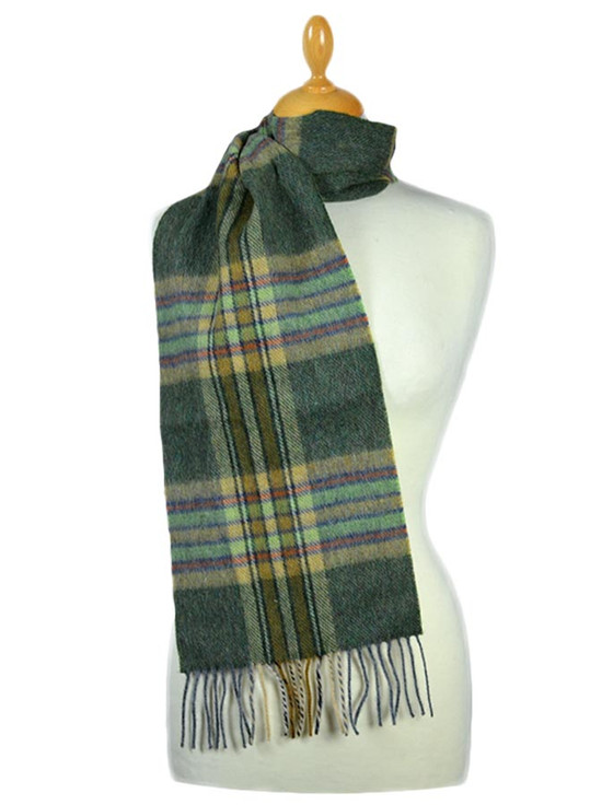 Narrow Lambswool Plaid Scarf - Olive