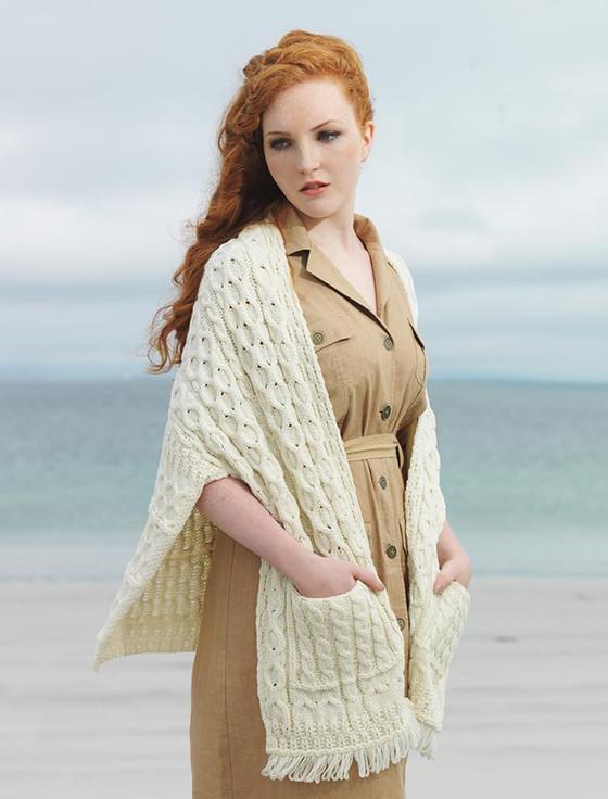 Aran Shawl Wrap with Pockets - Natural White