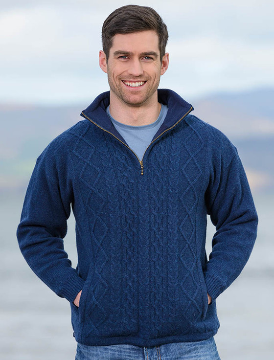 Windproof Aran Style Half Zip Jacket - Nightshade