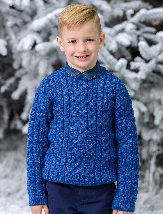 Kid's Traditional Aran Merino Wool Sweater - Blue (CatImage_/christmas-for-kids) (CatImage_/aran-christmas-store)