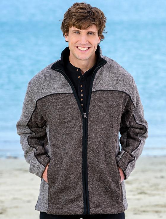 Men's Fleece Lined Wool Jacket  - Brown