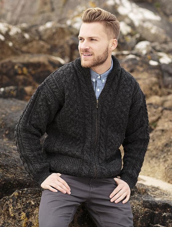 Men's Aran Zip Cable Knit Cardigan - Charcoal