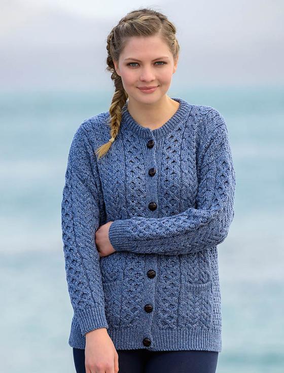 Merino Wool Aran Lumber Jacket - Denim