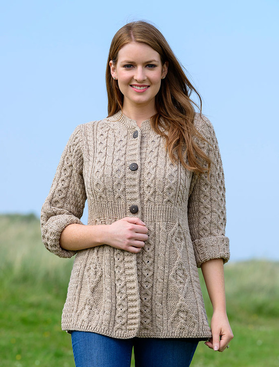 Women's Merino Wool A-Line Fit Cardigan - Wicker