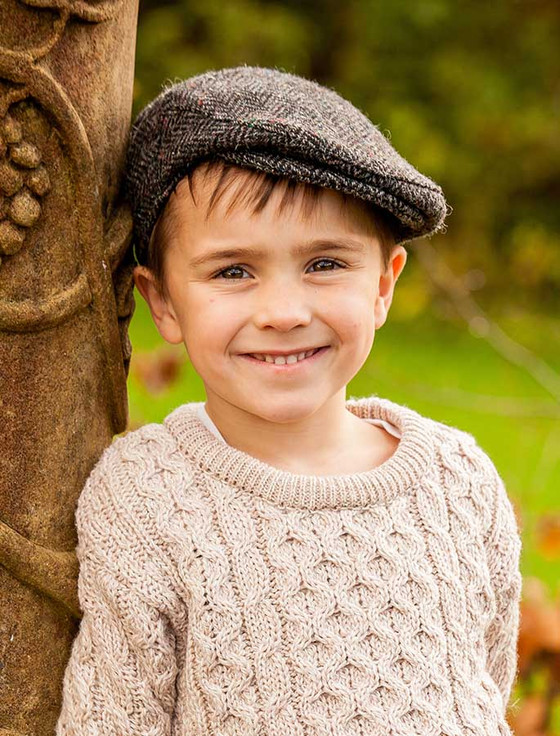 Children's Tweed Flat Cap - Silver