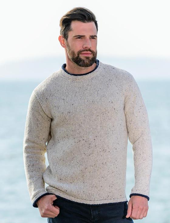Wool Cashmere Crew Neck Sweater - Chalk