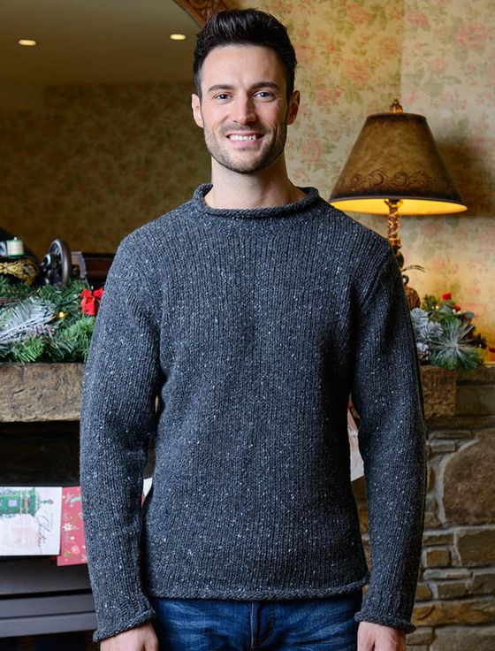 Roll Neck Sweater - Fisherman Sweater - Charcoal (CatImage_/christmas-for-him) (CatImage_/aran-christmas-store)