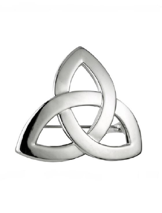 Rhodium Trinity Knot Brooch