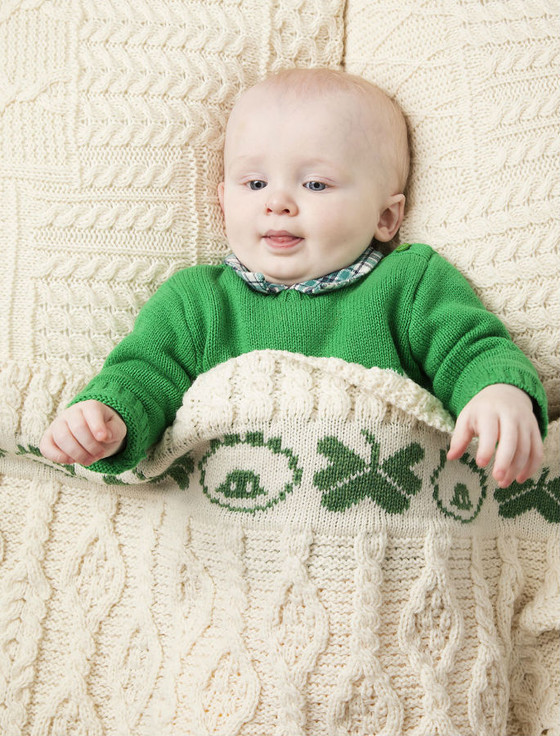 Merino Sheep & Shamrock Baby Throw