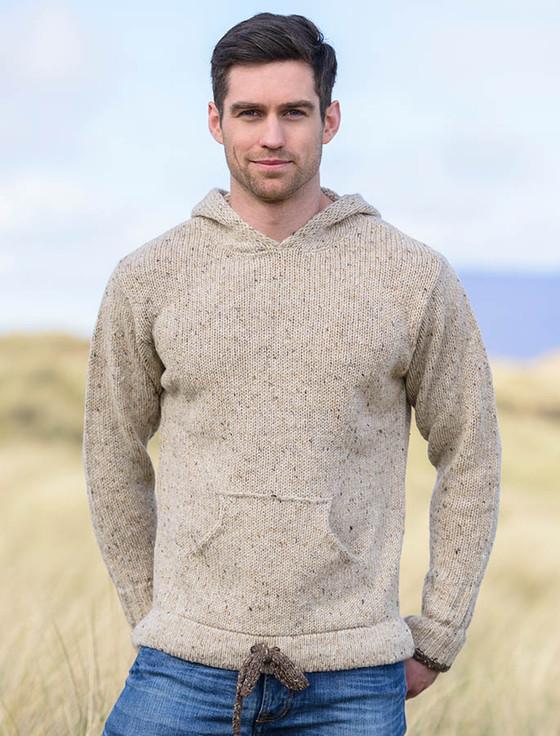 Men's Wool Hoodie with Pouch Pocket - Beige