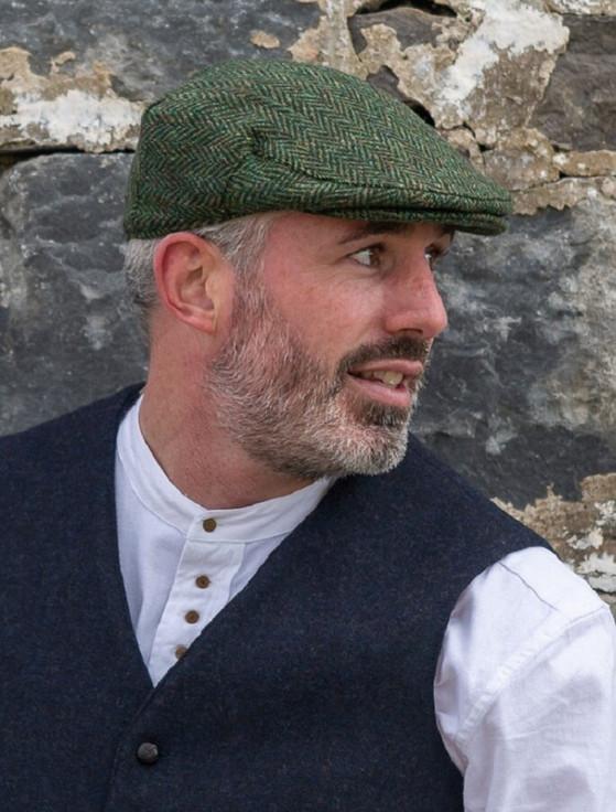 Donegal Tweed Herringbone Flat Cap - Green