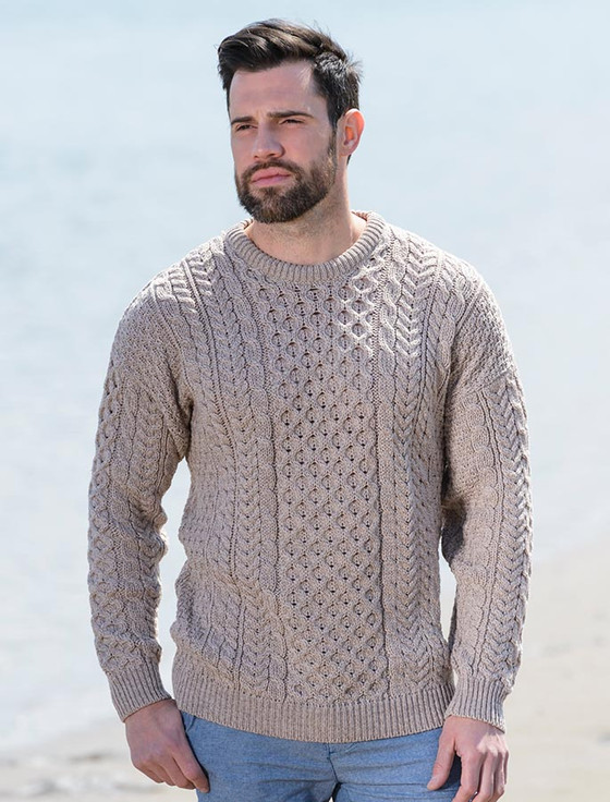 Men's Merino Aran Sweater - Wicker
