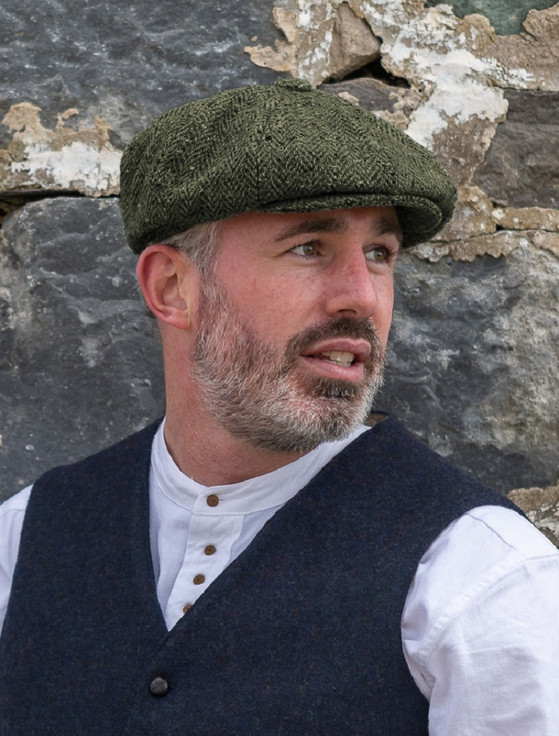 Donegal Tweed Mens Gatsby Cap - Green