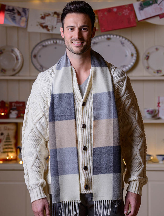 Fine Merino Check Scarf - Cream Grey Beige