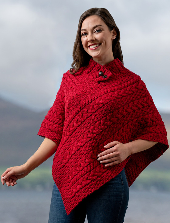 Cable Poncho with Aran Button Detail - Chillipepper