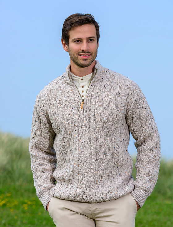 Zip-Neck Aran Sweater - Oatmeal