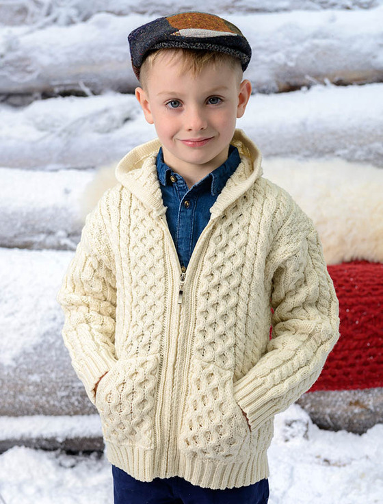 Kid's Hooded Cardigan with Pockets - Natural White