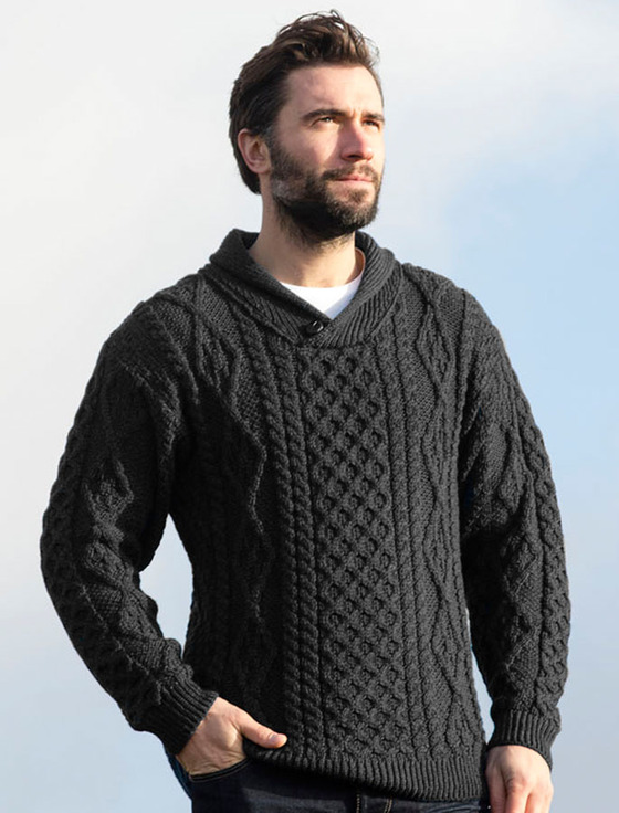 Shawl Neck Honeycomb Sweater - Derby