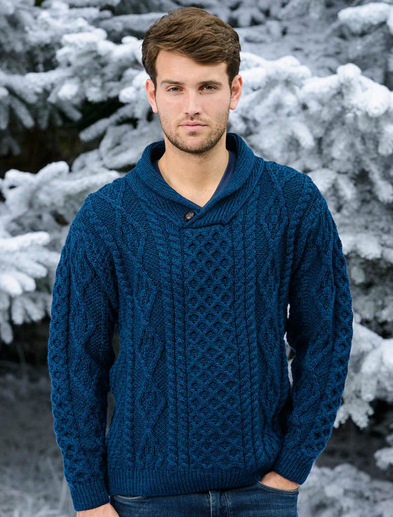 Shawl Neck Honeycomb Sweater - Atlantic (CatImage_/christmas-for-him) (CatImage_/aran-christmas-store)
