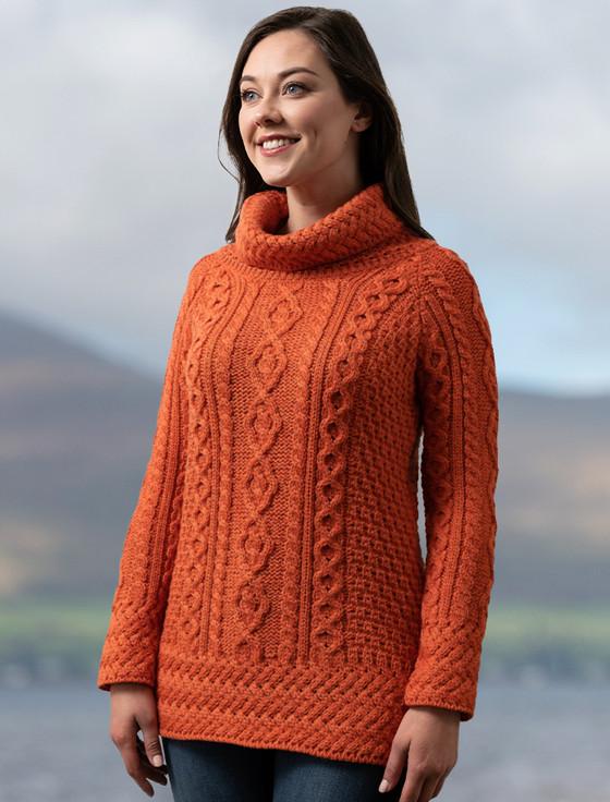 Aran Cowl Neck Tunic Sweater - Autumn Leaf