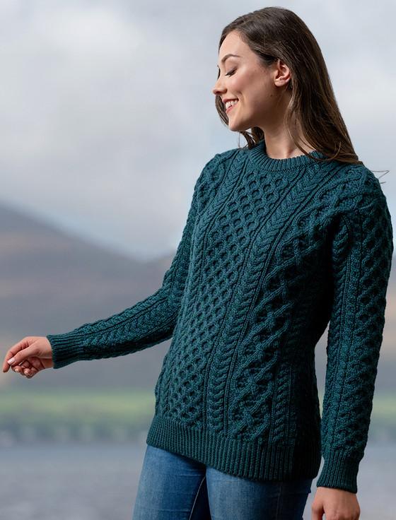 Heavyweight Merino Wool Aran Sweater - Atlantic