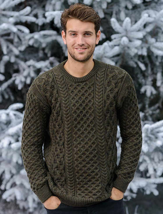 Heavyweight Merino Wool Aran Sweater- Forest (CatImage_/christmas-for-him) (CatImage_/aran-christmas-store)