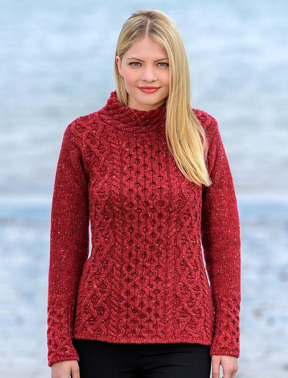Women's Wool Cashmere Aran Mock Turtleneck Sweater - Red