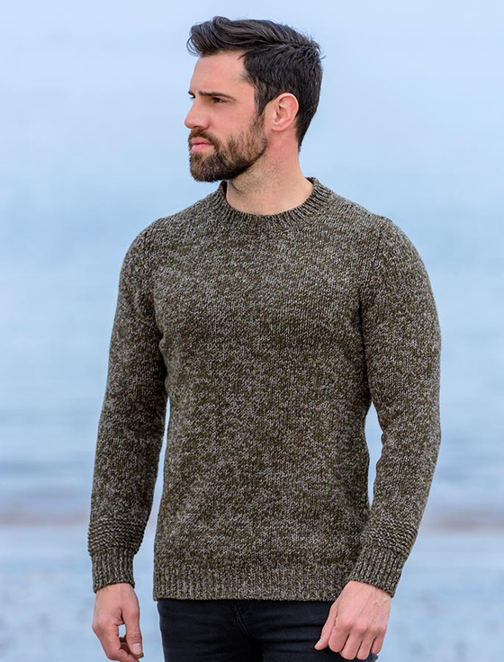 Crew Neck Sweater with Ribbed Details - Hunter
