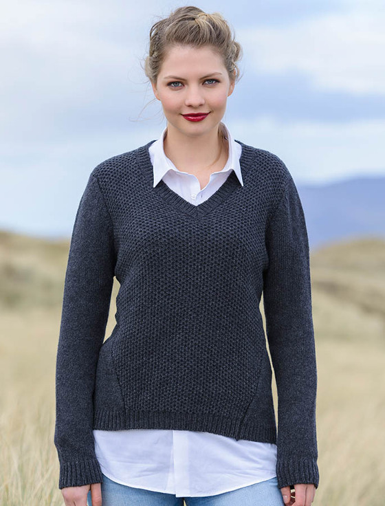 Wool Alpaca V-Neck Sweater - Charcoal