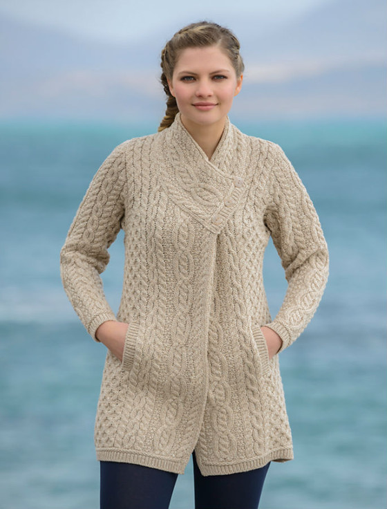 Aran Cable Crossover Neck Coat - Parsnip